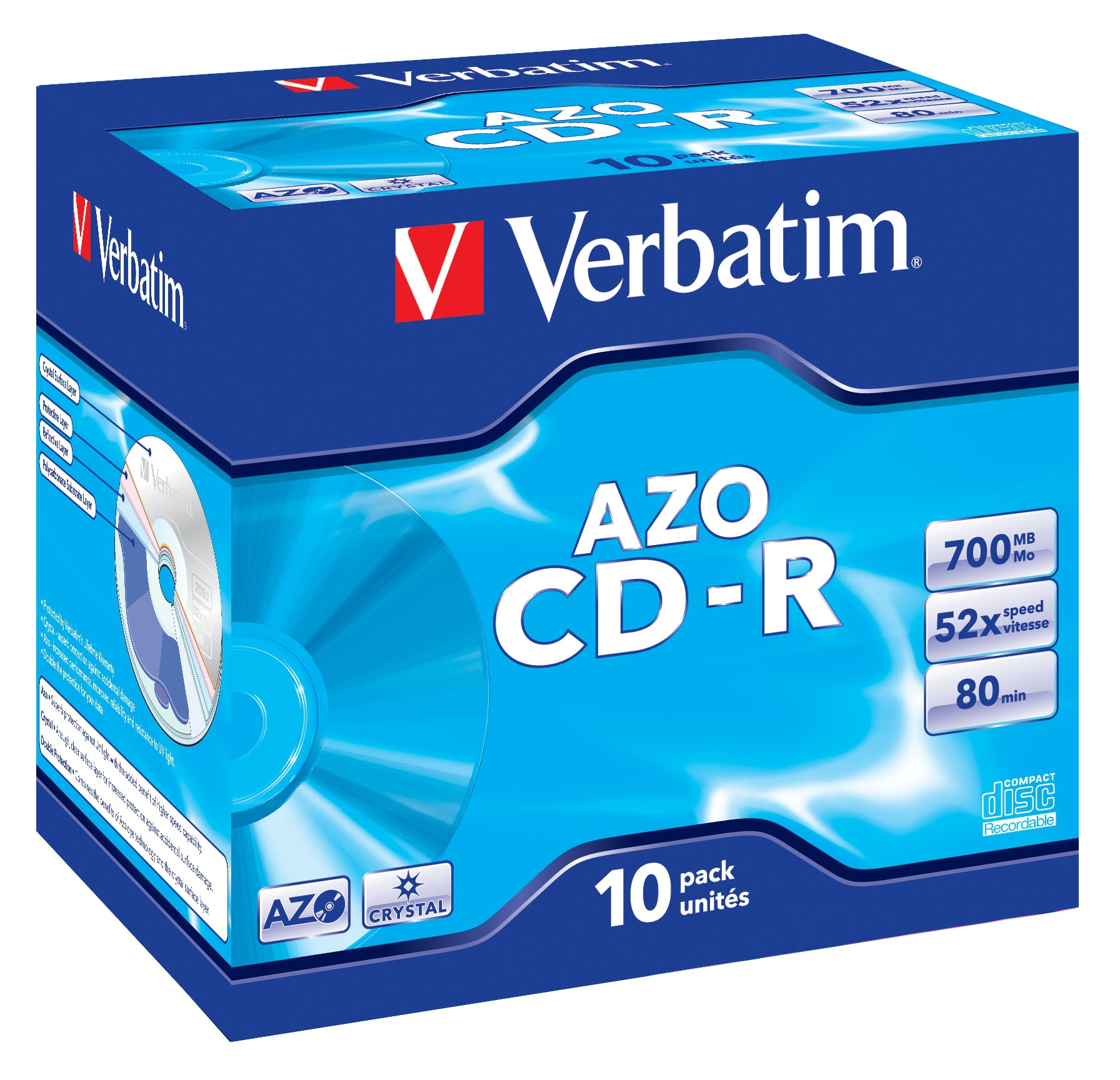 Cdr Recorder Media 700MB 80min 48x Datalife Plus Crystal 10-pk With Jewel Case
