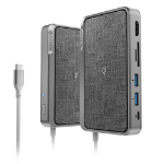 ALOGIC USB-C Dock Wave | ALL-IN-ONE / USB-C Hub with Power Delivery, Power Bank & Wireless Charger - Space Grey