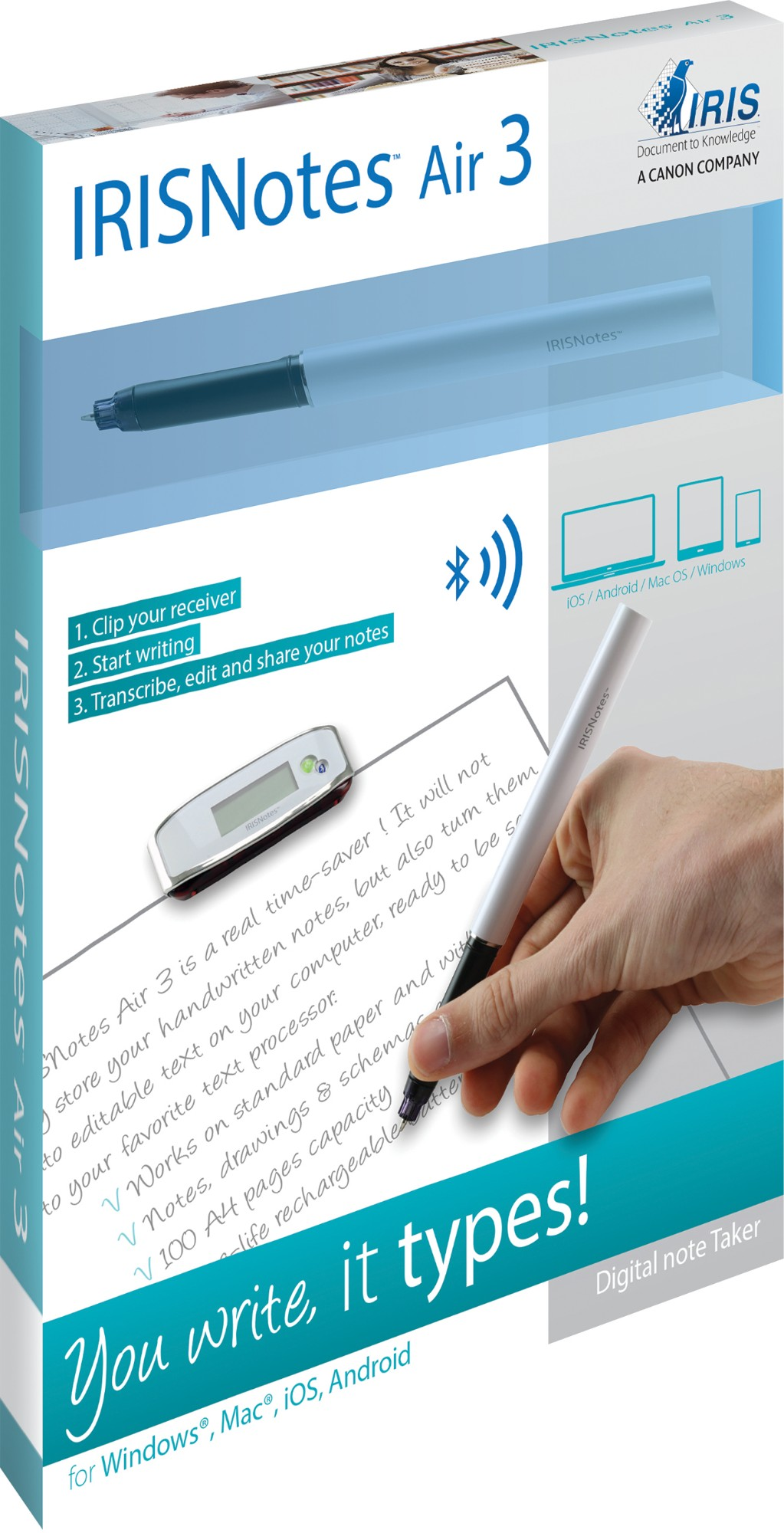 I.R.I.S. IRISNotes Air 3 100sheets A4 digital pen, 38 in distributor ...