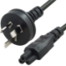 8WARE AU Power Lead Cord Cable 2m 3-Pin AU to ICE 320-C5 Cloverleaf Plug Mickey Type Black Male to Female