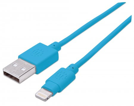 Manhattan USB 2.0 to Lightning Cable, 15cm, Blue, MFI Certified, Male to Male, Blister