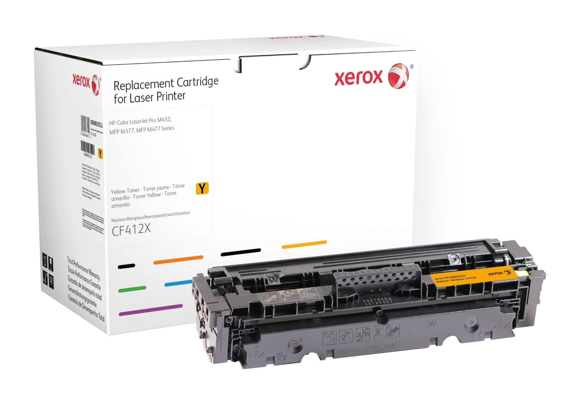 Xerox Cartucho de tóner amarillo. Equivalente a HP CF412X. Compatible con HP Color LaserJet Pro MFP M477, LaserJet Pro MFP M377, Pro M452