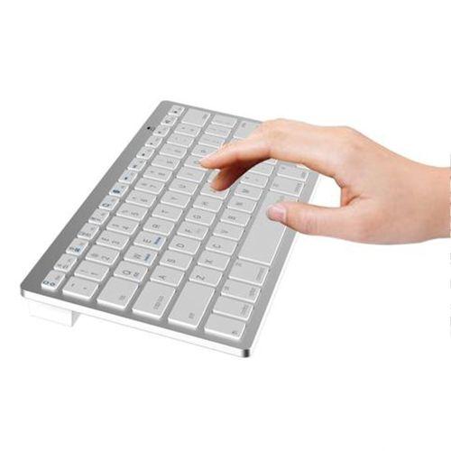 Jedel Portable Wireless Bluetooth Keyboard, 2.4GHz, White Keys, Silver