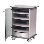 Metroplan Contemporary cabinet with 3 height adjustable shelves.Sliding top shelf.Curved smoked glass door con