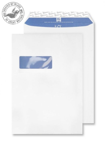 Blake Premium Pure Pocket Window Peel and Seal Super White Wove C4 120gsm (Pack 250)