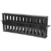 "Intellinet 19"" Cable Management Panel, 19"" Rackmount Cable Manager, 1U, Double-Sided with Covers, Black"