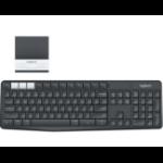 Logitech K375s Tastatur RF Wireless + Bluetooth QWERTZ Deutsch Graphit, Weiß
