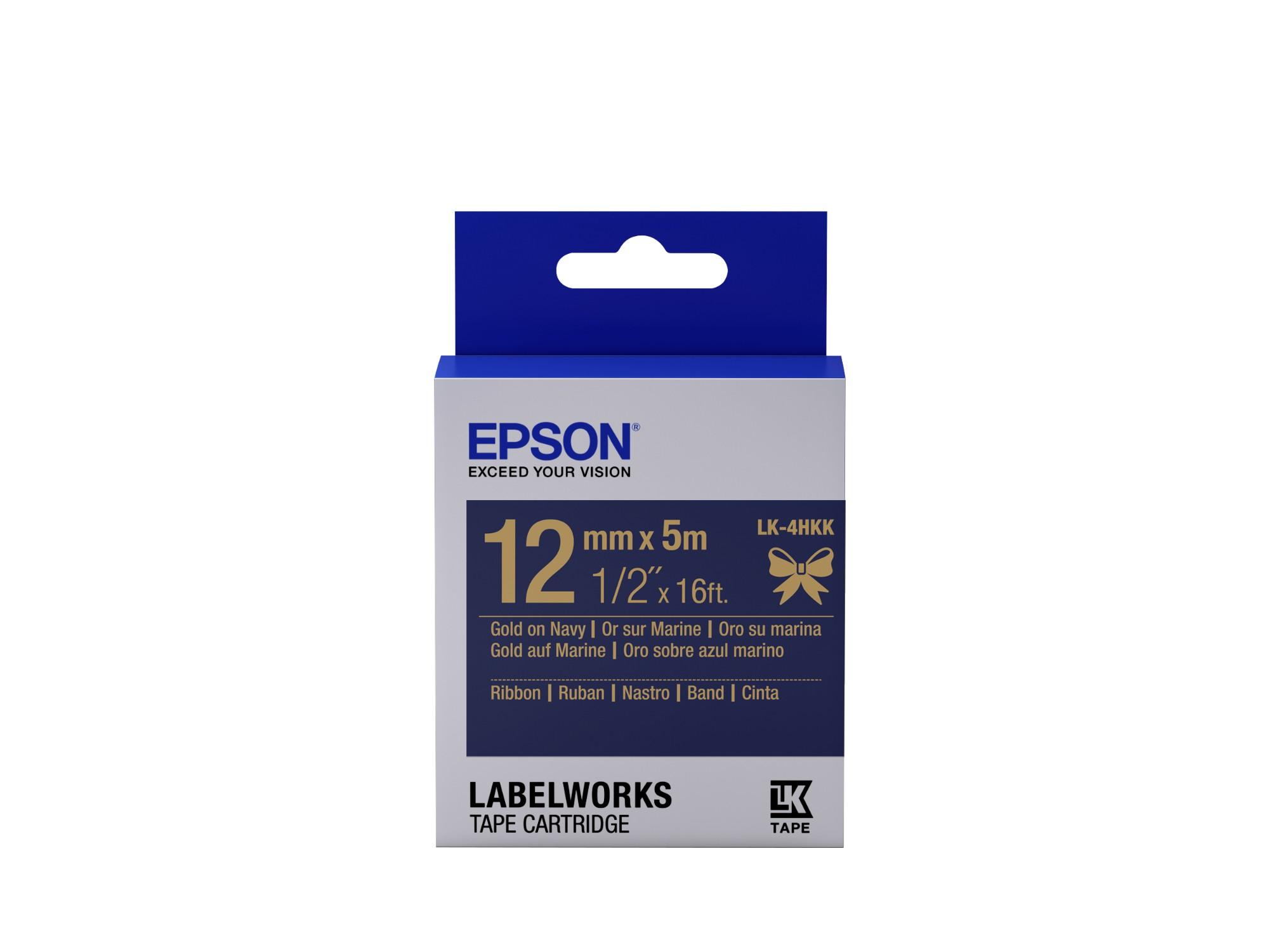 Epson Cartucho de etiquetas de cinta satinada LK-4HKK oro/azul marino de 12 mm (5 m)