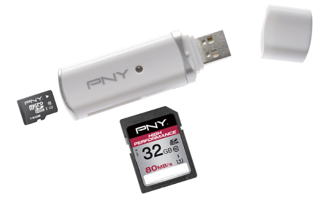 PNY MLTIRDR20W01-RB USB 2.0 White card reader