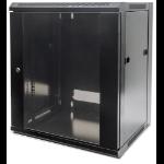 """Intellinet 19"""" Wallmount Cabinet, 15U, 770 (h) x 570 (w) x 600 (d) mm, Max 60kg, Flatpack, Black"""