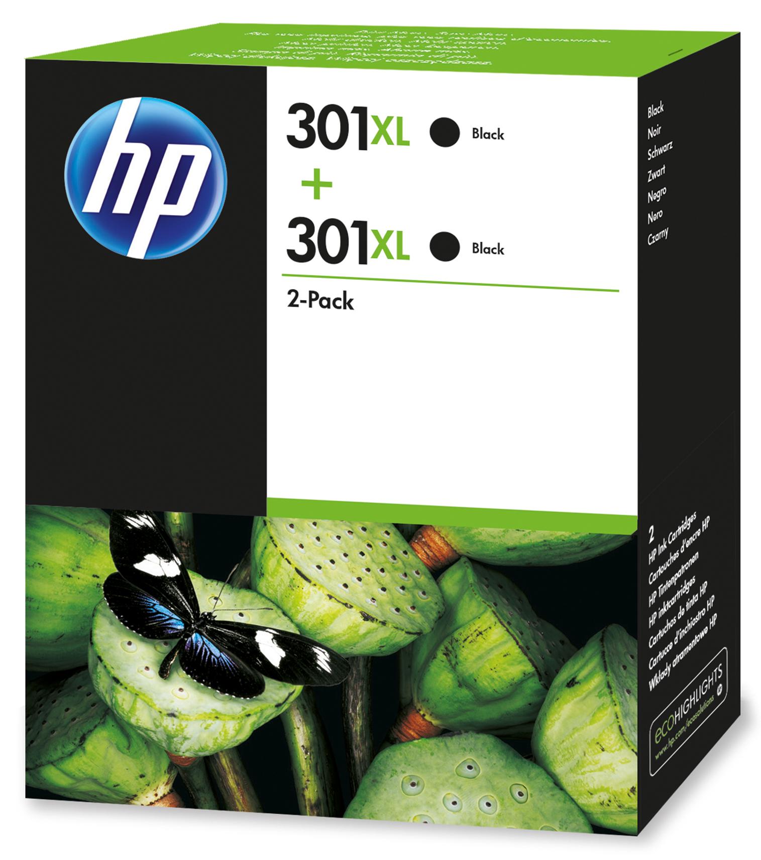 HP 301XL Origineel Zwart Multipack 2 stuk(s)