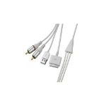 4XEM 4X30PINAUDIO 1.3m USB, 2x RCA 1 x 30 Pin Apple White mobile phone cable