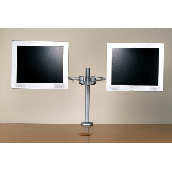 Value Dual LCD Monitor Arm, Desk Clamp, 4 Joints