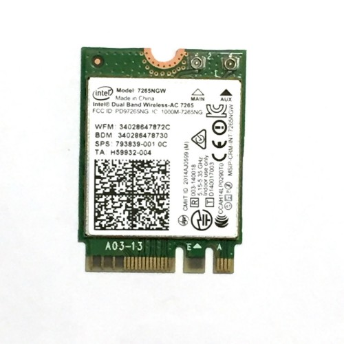 Intel Dual Band Wireless-AC 7265 WLAN / Bluetooth 867 Mbit/s Internal