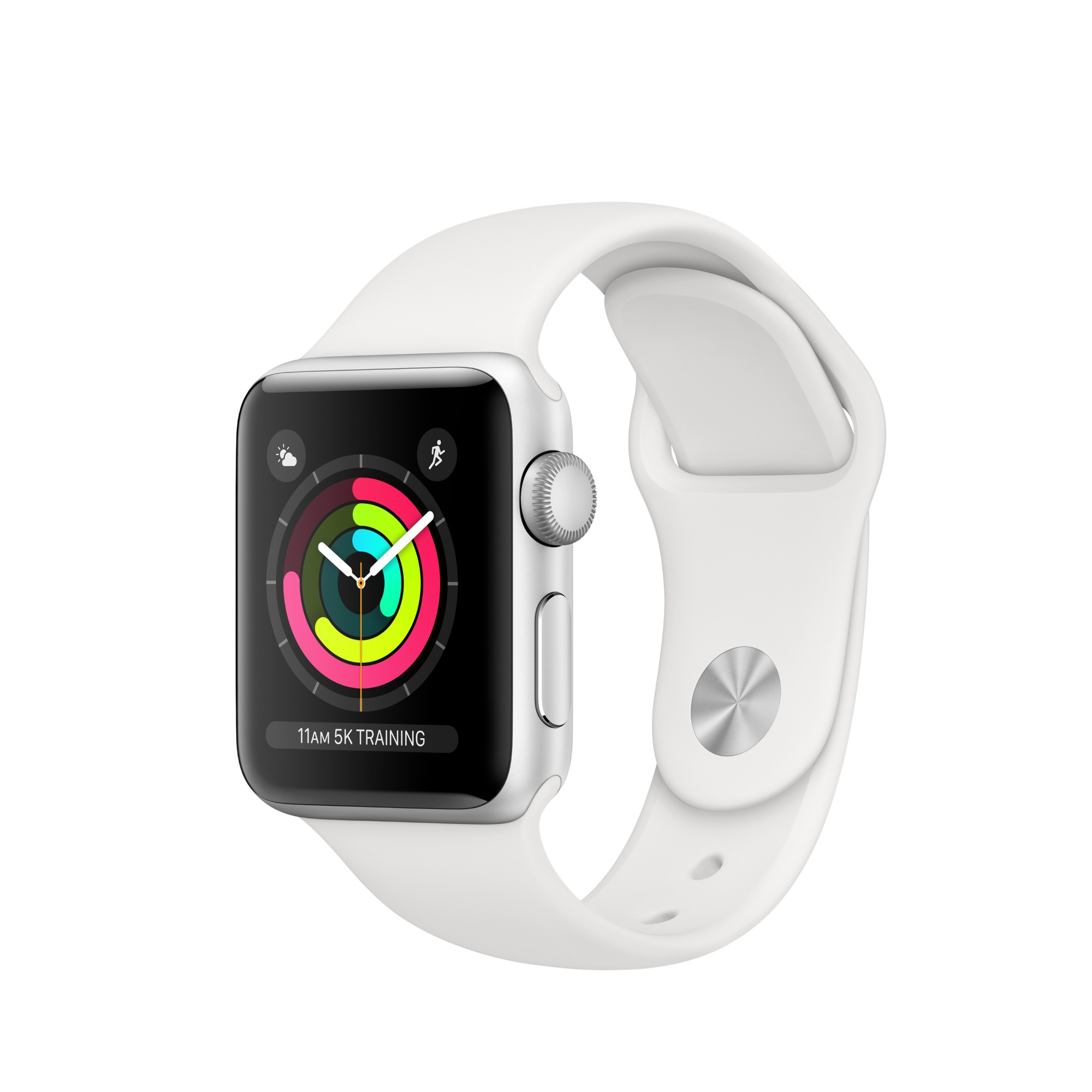 Apple Watch Apple�� Series�� 3 GPS, 38mm Silver Aluminium Case with White Sport Band