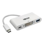 Tripp Lite USB Type-C (USB-C) to DVI External Video Adapter with USB-A Hub and USB-C PD Charging Ports, 1920 x 1080 (1080p)