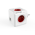 Allocacoc PowerCube Original USB base múltiple 4 salidas AC Interior Rojo, Blanco