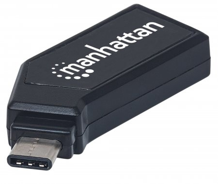 Manhattan Mini Multi-Card Reader/Writer, USB-C, 24-in-1, 480Mbps, Windows or Mac, Black, Blister