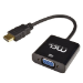 MCL CG-287C adaptador de cable HDMI A VGA + 3,5 mm Negro