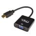 MCL CG-287C adaptador de cable HDMI A VGA + 3,5 mm Negro