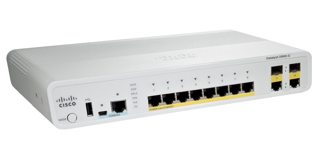 Cisco Catalyst WS-C2960C-8PC-L Managed L2 Fast Ethernet (10/100) Power over Ethernet (PoE) White network switch