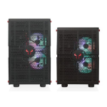 RIOTORO GPX100 Morpheus Convertible Mini-to-Mid Tower Case, < EATX MB, Perforated Mesh, Red LED Fans, USB-C,