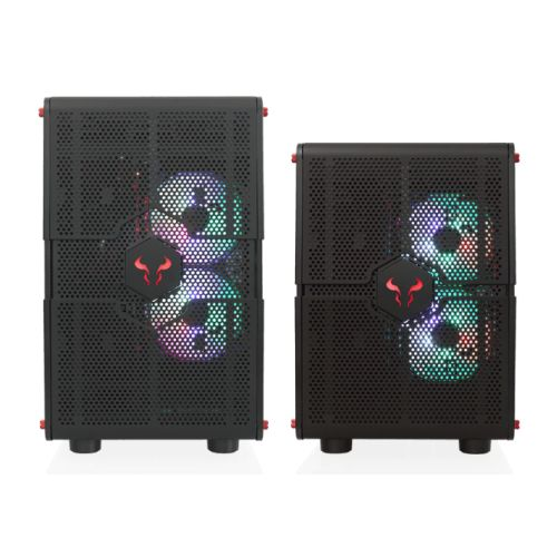 RIOTORO GPX100 Morpheus Convertible Mini-to-Mid Tower Case, < EATX MB, Perforated Mesh, Red LED Fans