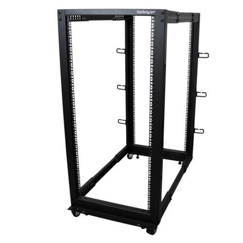 StarTech.com 25U Adjustable Depth Open Frame 4 Post Server Rack w/ Casters / Levelers and Cable Management Hooks