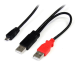 StarTech.com 1 ft USB Y Cable for External Hard Drive - Dual USB A to Micro B