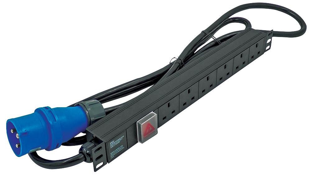 LMS 6 Way Horizontal 13A Switched PDU / Power Bar > 32AMP Commando Plug w/ Surge Protection (Rackmount)