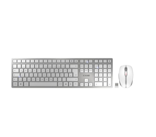 CHERRY DW 9000 SLIM keyboard RF Wireless + Bluetooth QWERTZ German Silver, White