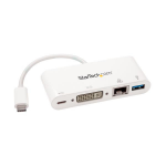 StarTech.com USB-C Multiport Adapter with DVI - USB 3.0 Port - 60W PD - White