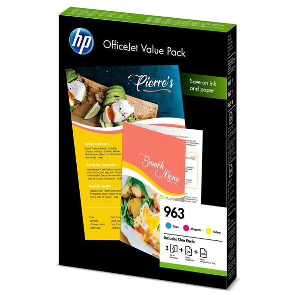HP 6JR42AE (963) Ink cartridge multi pack, 1.6K pages, Pack qty 3