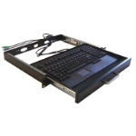 """Adesso 19"""" 1U Rackmount Keyboard Drawer with built-in Touchpad Keyboard USB QWERTY Black keyboard"""