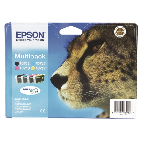 Epson C13T07154010 (T0715) Ink cartridge multi pack, 7,4ml+3x5,5ml, Pack qty 4