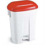 FSMISC 60 LITRE PLASTIC BIN WHITE/RED 348048012
