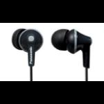 Panasonic RP-HJE125PP Dentro de oído Biauricular Alámbrico Negro auricular para móvil