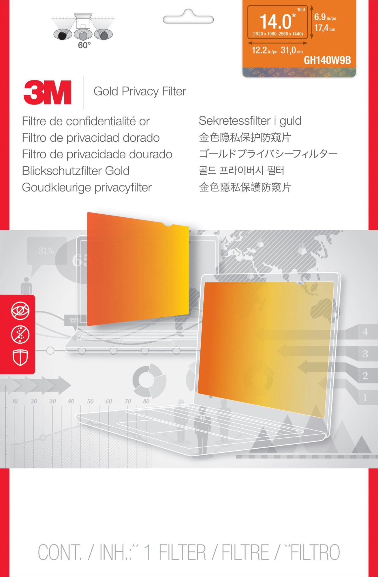 3M Privacy Screen Protectors for 14 Widescreen High Resolution Display 1920x1080 GH140W9B Transparent Gold