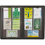 QUARTET ENCLOSED CORKBOARD FABRIC 2 DOOR ALUMINIUM FRAME 1200 X 900MM