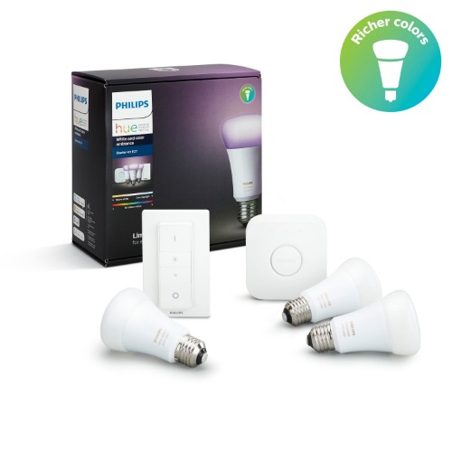 Philips Hue White and colour ambience 3 x E27 bulb Starter kit E27