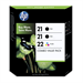 HP SD400AE#445 (21+21+22) Printhead multi pack, 5ml, Pack qty 3