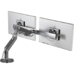 Keytools Humanscale M8 high weight capacity monitor arm for dual-monitor applications. Polished Aluminium fra