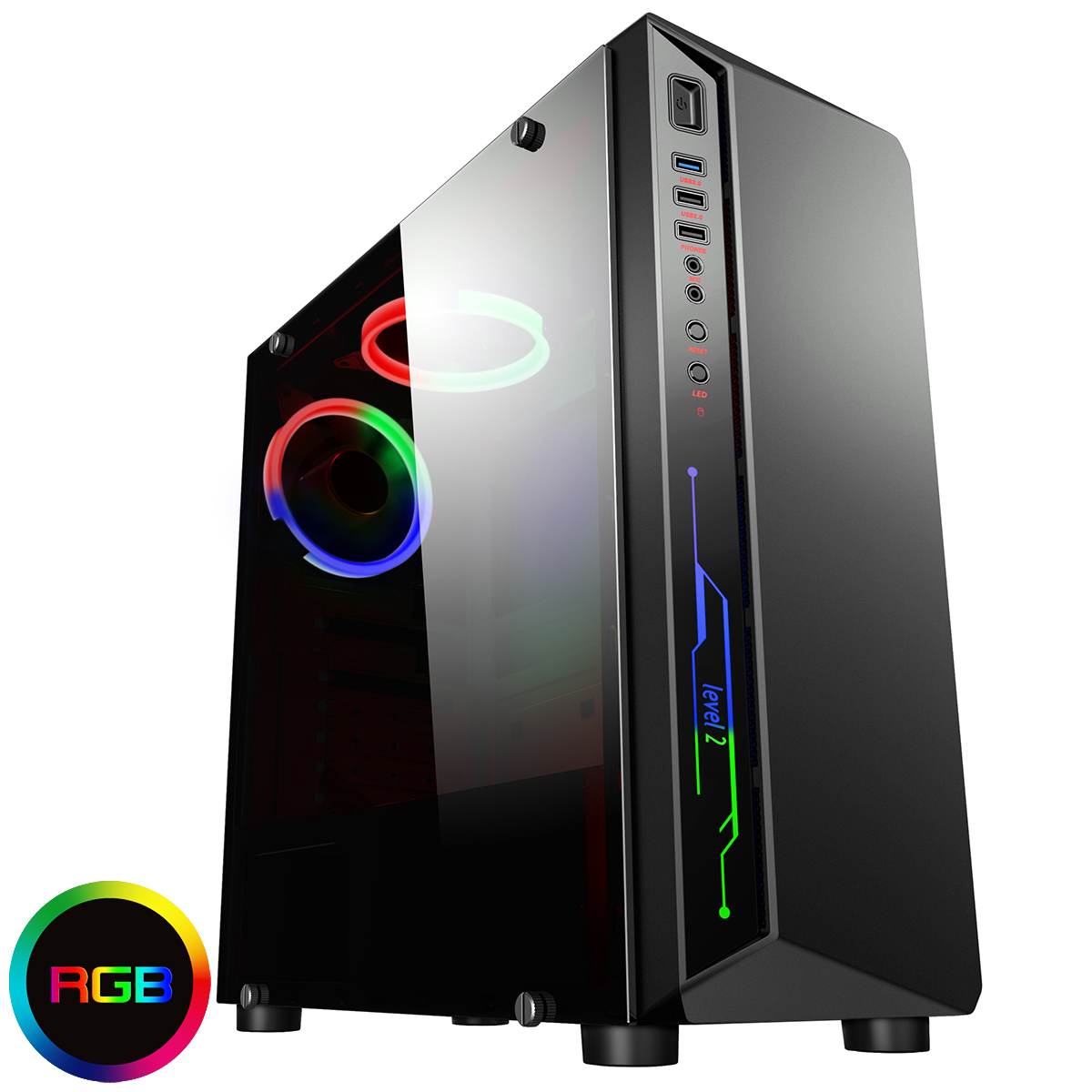 CIT Blitz RGB Mid-Tower Gaming Case With Full Acrylic Window