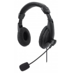 Manhattan Stereo USB Headset (Retail Boxed), Lightweight Over-Ear design, Adjustable microphone, Integrated controls, USB-A plug, Black, Three Year Warranty