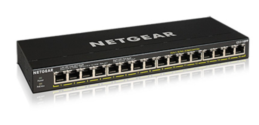 Netgear GS316PP Unmanaged Gigabit Ethernet (10/100/1000) Black Power over Ethernet (PoE)