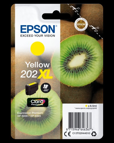 Epson C13T02H44010 (202XL) Ink cartridge yellow, 650 pages, 9ml