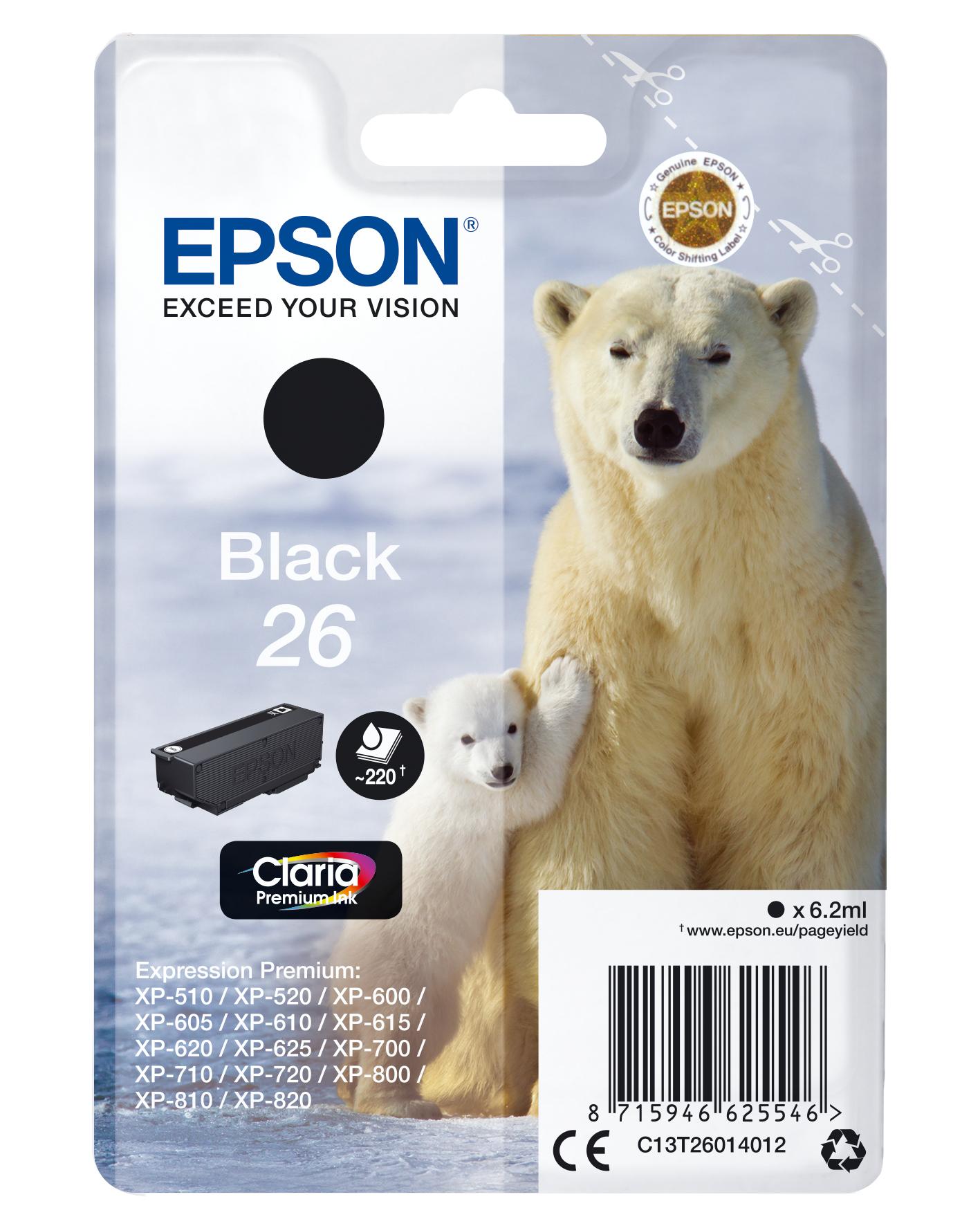 Epson Polar bear C13T26014012 Tintenpatrone Original Schwarz 1 Stück(e)