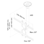 Newstar FPMA-C400 Flat Panel-Deckenhalter 152,4 cm (60 Zoll) Schwarz