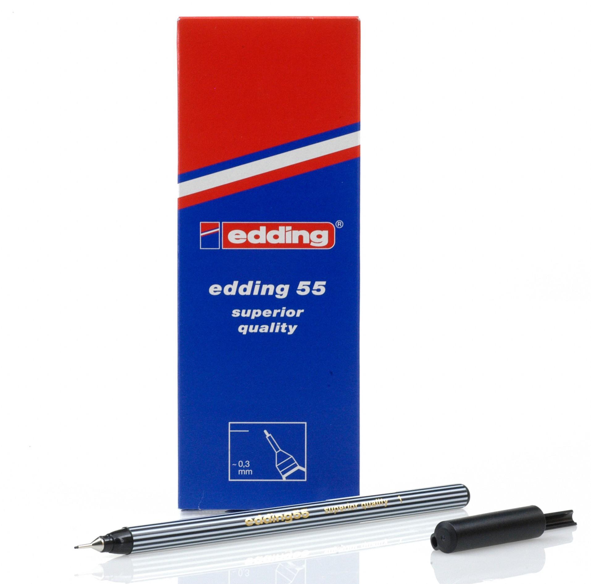 Edding 55 Fineliner Black PK10