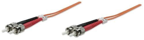 Intellinet Fibre Optic Patch Cable, Duplex, Multimode, ST/ST, 50/125 µm, OM2, 5m, LSZH, Orange